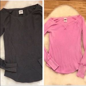 Lot of 2! Victoria's Secret PINK Thermal Shirts XS